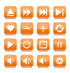 Orange media sign rounded square icon web button vector