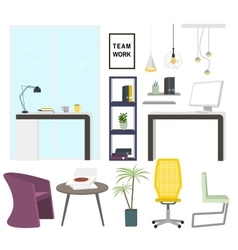 Modern office interior elements office furniture vector