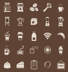 Coffee shop color icons on brown background vector image