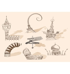 Travel original hand drawn collection caricature vector