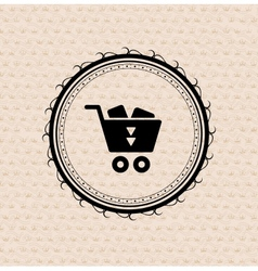 Vintage retro label  tag  badge  shopping cart vector