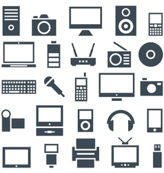 Icon set gadgets computer equipment and vector