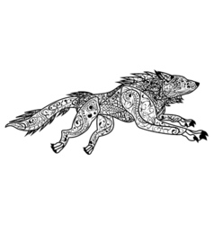 Zentangle Hand drawn doodle ornate dog vector image