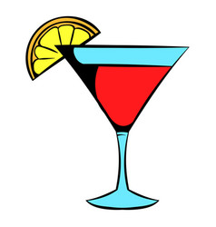 Martini glass with red cocktail icon icon cartoon vector