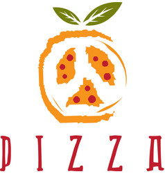 pizza in peace symbol form design template vector image