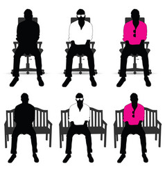 Man silhouette siting on chair color vector