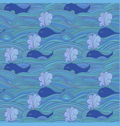 Cute unusual seamless pattern with whales in the vector