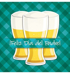 Spanish happy fathers day beer card in format vector