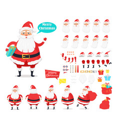 merry christmas collection of santa claus icons vector image