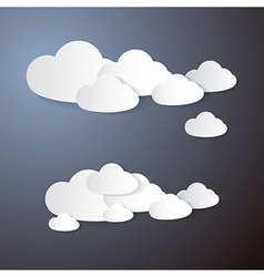 Clouds Cut From Paper on Grey Background vector image
