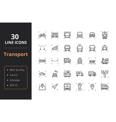 30 transport line icons vector image vector image