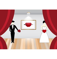 Bride and groom on stage vector