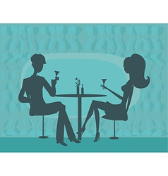 Young couple silhouette flirt and drink champagne vector
