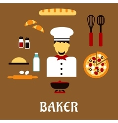Baker profession concept with bakery ingredients vector
