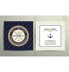 Nautical rope wedding card on fishnet background vector image