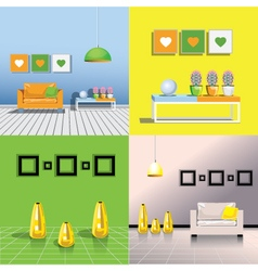 Four images of the interiors of the room vector