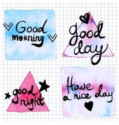 Good day lettering motivation watercolor stain vector