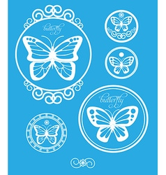 Set of vintage butterfly labels emblems and design vector image