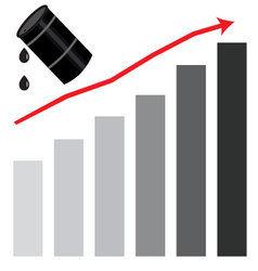 Rising oil price graph chart vector