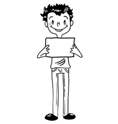 Black and white boy holding an empty sign vector