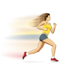a realistic sports running girl on white vector image vector image