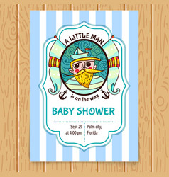 Baby shower invitation with sea captain vector