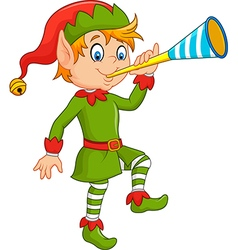Cartoon funny elf blowing trumpet vector image vector image
