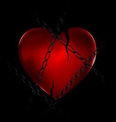 Chain and broken heart vector