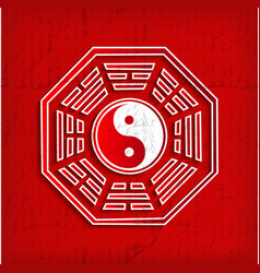 Chinese bagua symbol on red vector