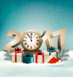 Christmas background with a 2017 and a gift boxes vector image