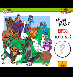 Counting birds educational game for kids vector