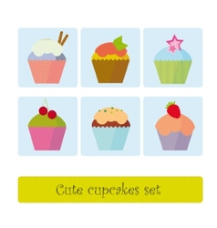 Cute cupcakes set vector image vector image