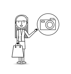 Drawing girl shopping with camera vector