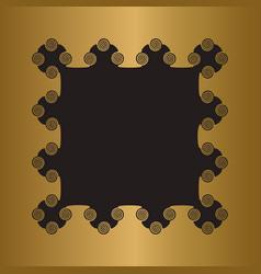 engraved gold metal frame blank vector image vector image