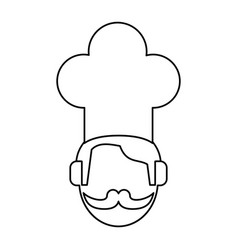 Face chef restaurant symbol thin line vector