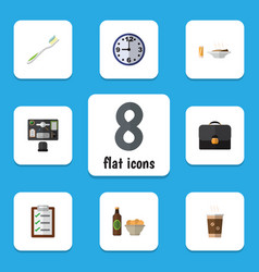 Flat icon oneday set of beer with chips watch vector
