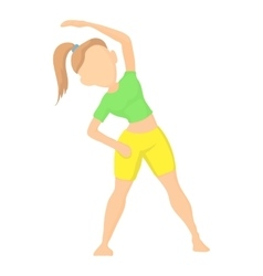 Girl doing exercises icon cartoon style vector