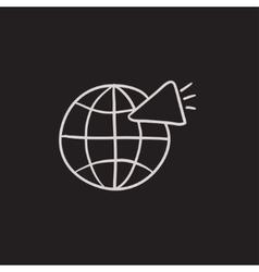 Globe with loudspeaker sketch icon vector image vector image