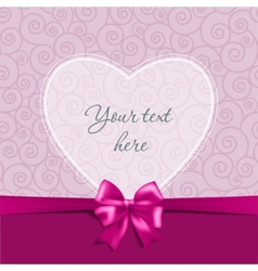 Greeting card with a bow and heart vector image vector image
