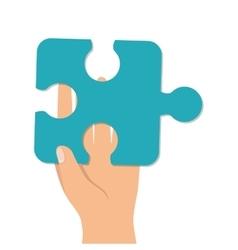 Hand finger palm puzzle piece vector