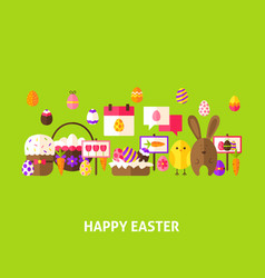 Happy easter greeting postcard vector