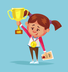 happy smiling little girl winner holds golden cup vector image vector image