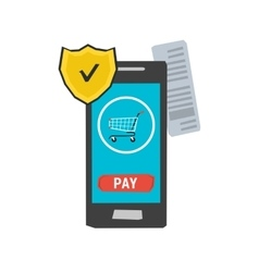 icon mobile safe payment vector image
