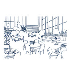 Modern restaurant or cafe interior furnished with vector