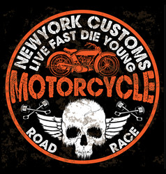 Motorcycle poster skull tee graphic design vector