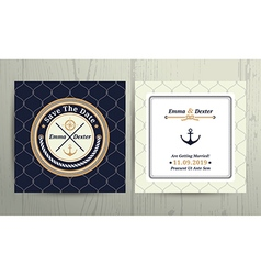 Nautical rope wedding card on fishnet background vector