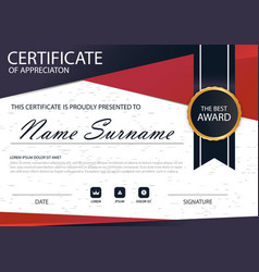 Red black elegance horizontal circle certificate vector