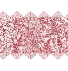 Red lace flowers horizontal seamless pattern vector image