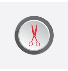 Scissors tool icon Cut symbol Red silhouette on vector image