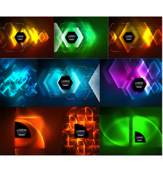 Set of glowing abstract shapes neon shiny hi-tech vector